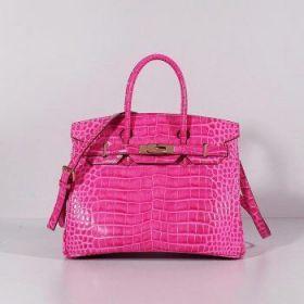 Hermes Birkin Rose Crocodile Leather Bag Shoulder Strap Gorgeous Golden Lock Buckle 30cm Kim Kardashian