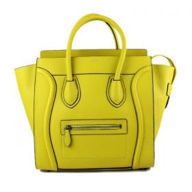 Celine Luggage Black Piping Detail Silver Zipper Closure Shiny Yellow Leather Ladies Large Tote Bag