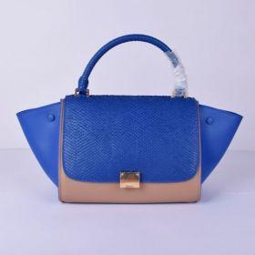 Celine Medium Trapeze High-End Snake Detail Golden Hardware Blue & Khaki Bi-color Fake Tote Bag For Girls