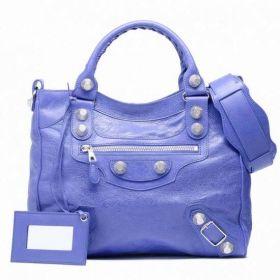 Low Price Balenciaga Giant 21 Velo Silver Studs Curved Top Ladies Bleu Lavande Top-handles Shoulder Bag