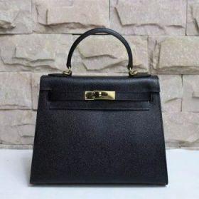 Hermes Kelly 28cm Black Epsom Leather Handbag Golden Lock Business Style Price Malaysia Review
