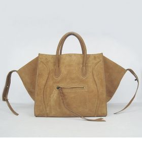 Womens Trendy Celine Luggage Phantom Wide Gussets Straps Details Smooth Leather & Suede Apricot Square Bag Replica