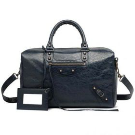 Fashionable Balenciaga Classic Polly Aged Brass Studs Front Zipper Pocket Dark Night Lambskin Tote Bag Outlet