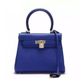 Hermes Kelly 25cm Electric Blue Togo Leather Bag  Golden Buckle Dupe Tide Girl Online NYC