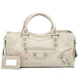Best Selling Balenciaga Female Giant 21 Belt Trimming Front Zipper Pocket Praline Silver Studs Part Time Handbag