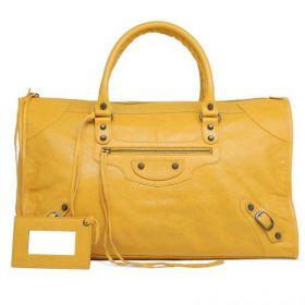 Summer Women's Balenciaga Aged Brass Studs Leather Tassel Zipper Pull Ladies Top-handles Classic Work Handbag Mangue